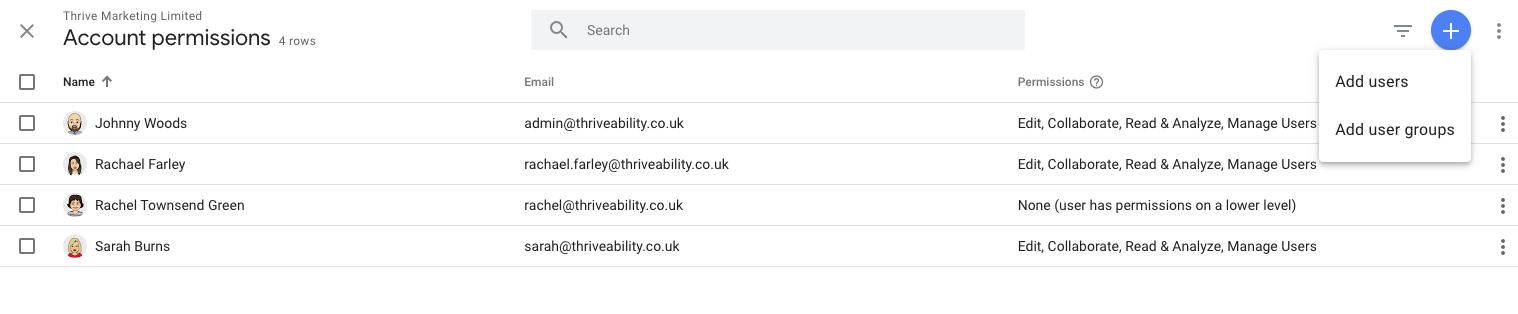 Google Analytics Account Permissions