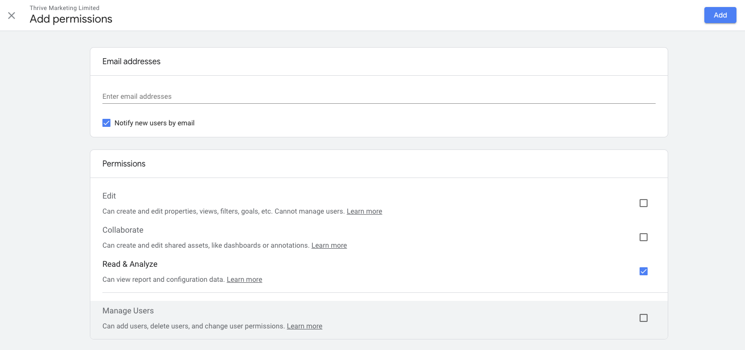 Google Analytics Adding Permissions