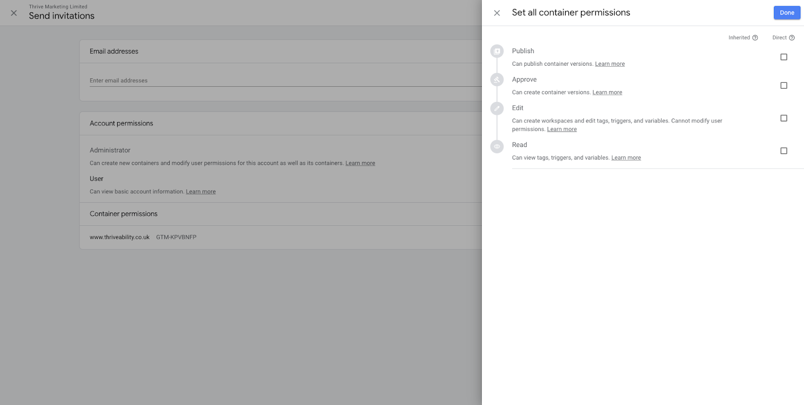 Google Tag Manager User Permissions