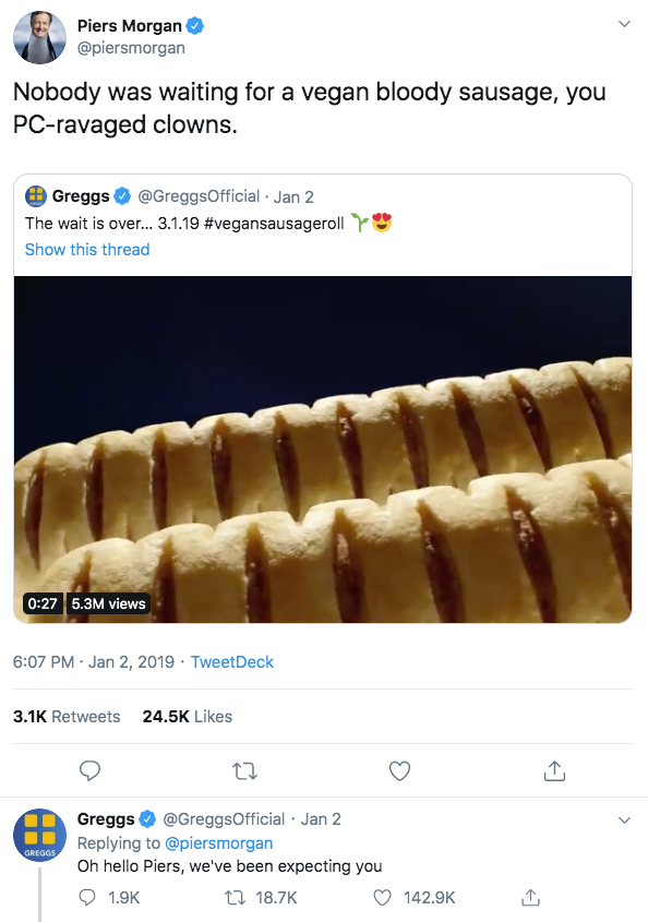 Greggs Vegan Sausage Roll - Piers Morgan