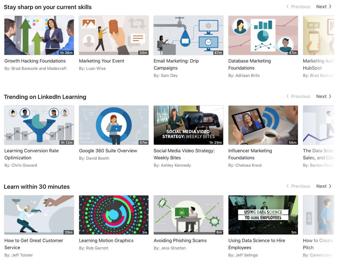 LinkedIn Learning Example Digital Courses