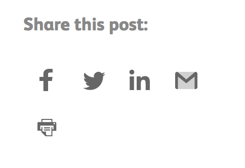 Social sharing buttons for Facebook, Twitter, LinkedIn and Email