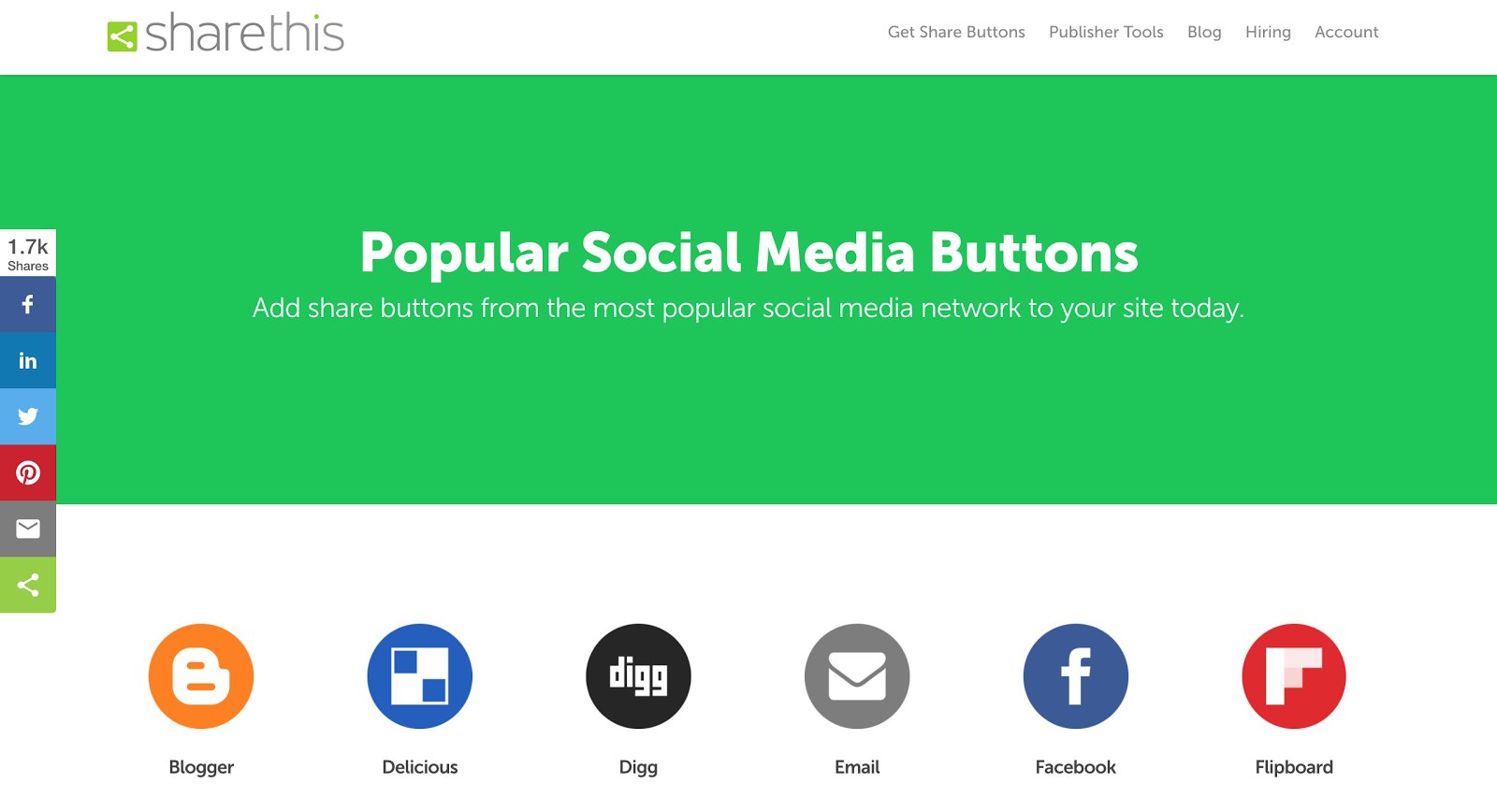 The ShareThis site which allows you to add social sharing buttons to your site