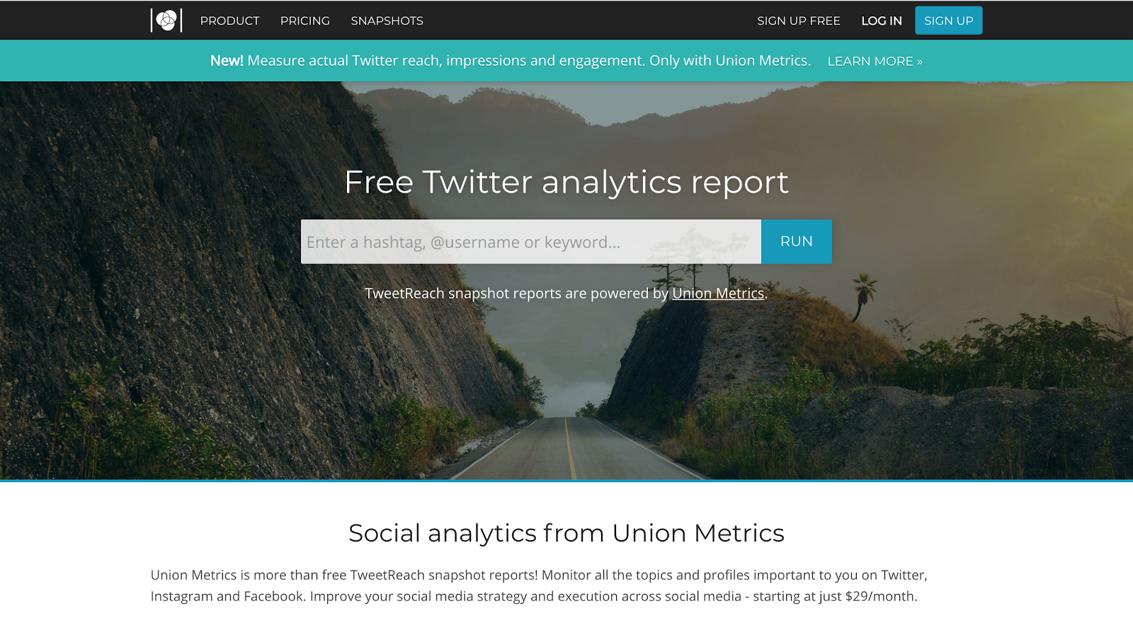 Tweetreach homepage
