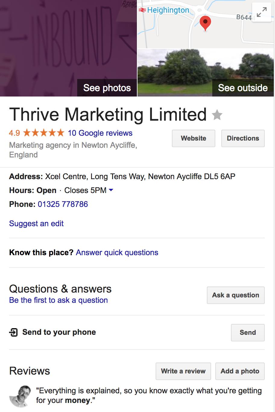 Thrive Marketing's Google My Business Listing