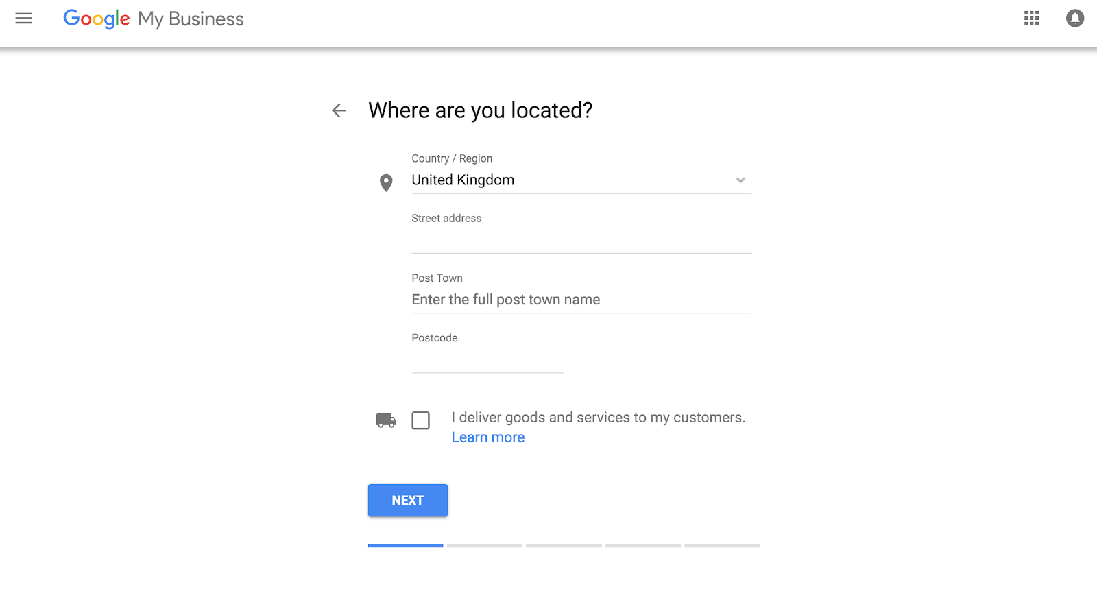 Google My Business - Location