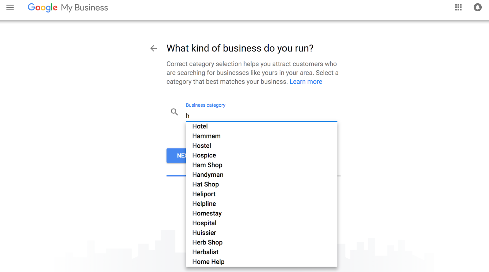 Google My Business - Business Category