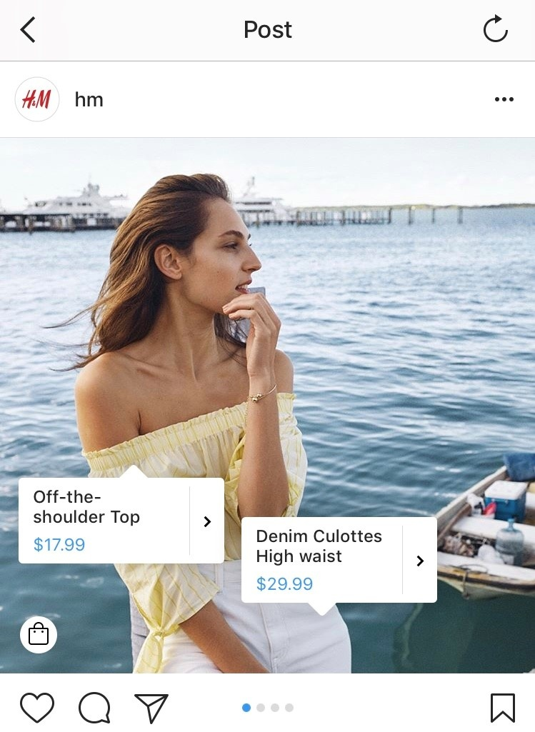 H&M Instagram Shopping Example