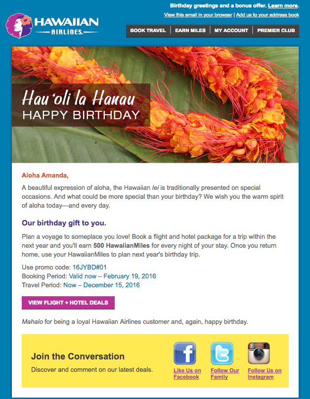 Example of a personalised email